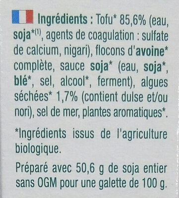 Croc tofu aux algues de bretagne - Ingrédients