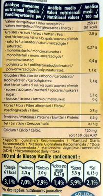Biosoy Vanille Calcium, Boisson au soja - Información nutricional