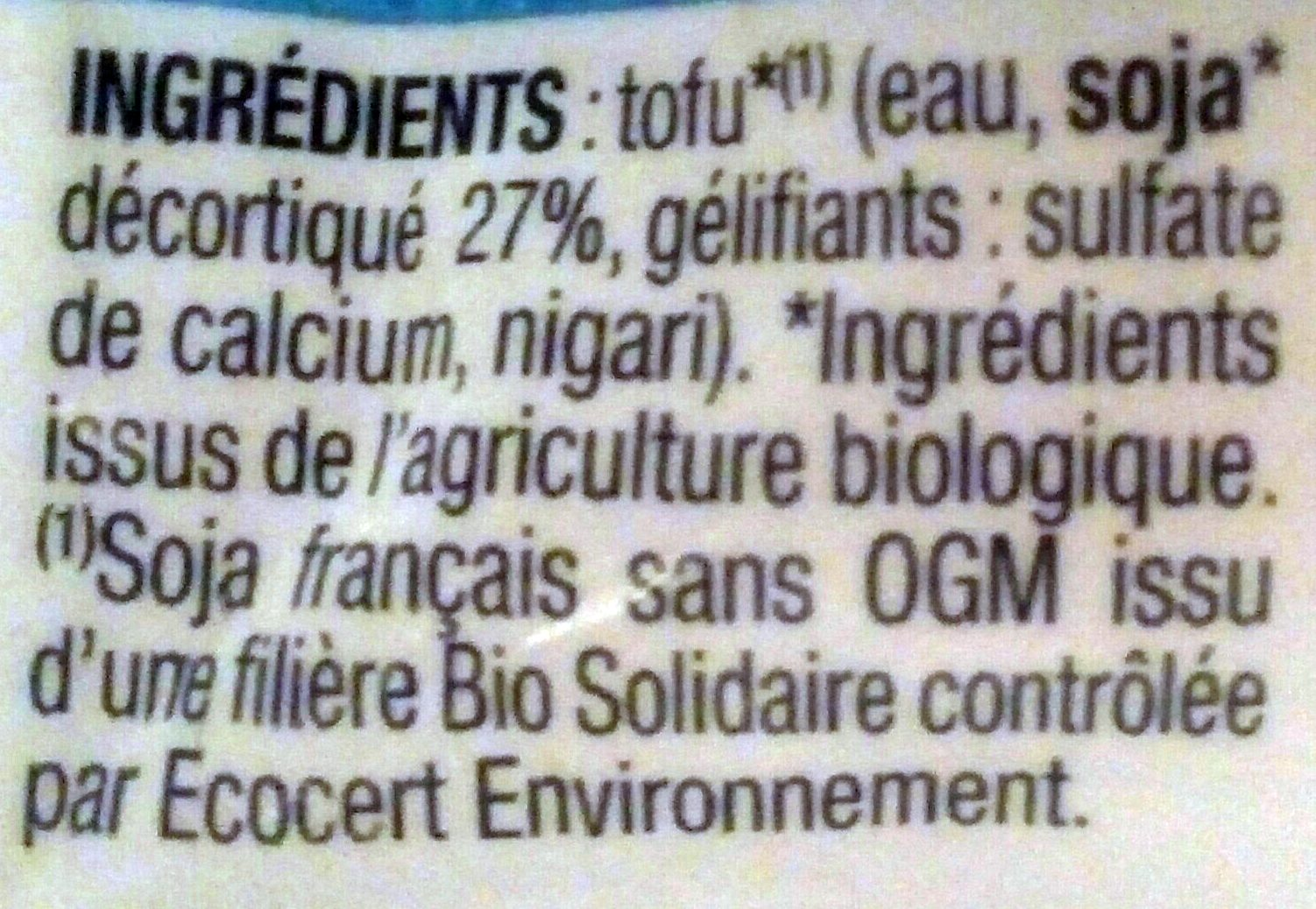 TOFOU Nature - Ingredients - fr