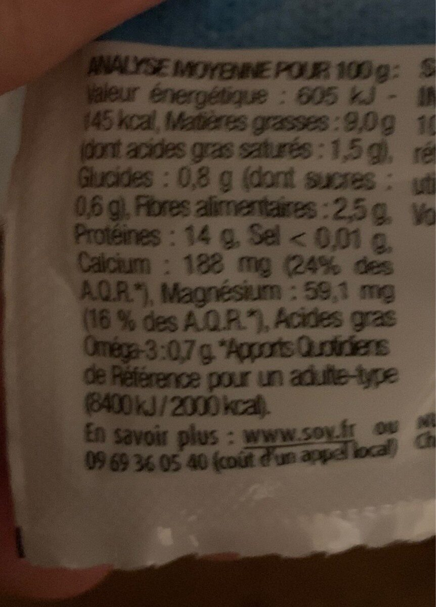 TOFOU Nature - Nutrition facts - fr