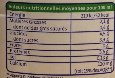 Boisson au soja calcium Bio - Nutrition facts