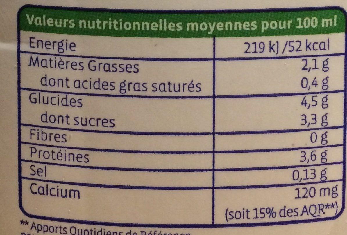 Boisson au soja calcium Bio - Nutrition facts