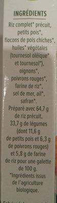 Galettes céréales riz, légumes, safran - Informations nutritionnelles - fr