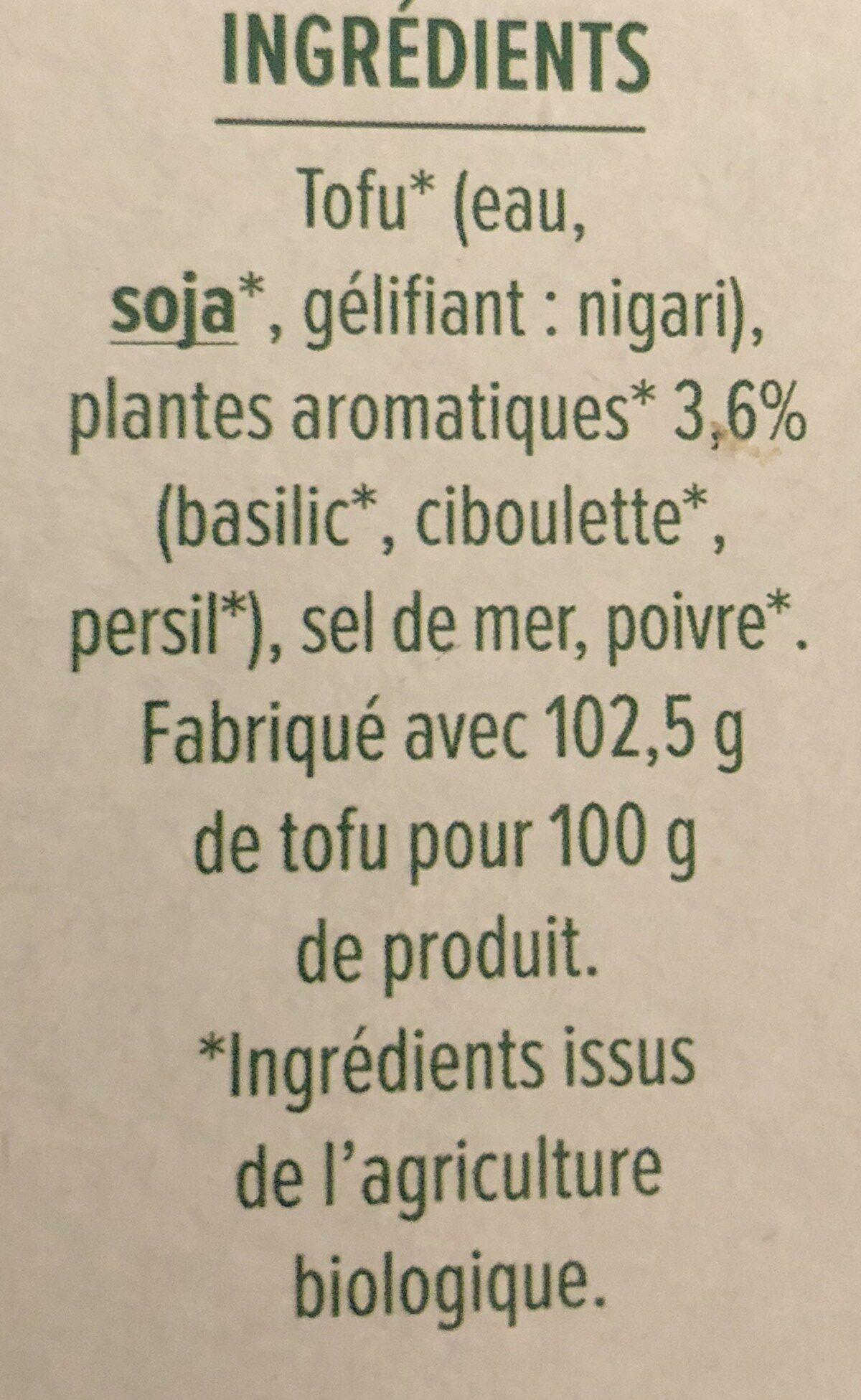 Tofu aux herbes - Ingredienti - fr
