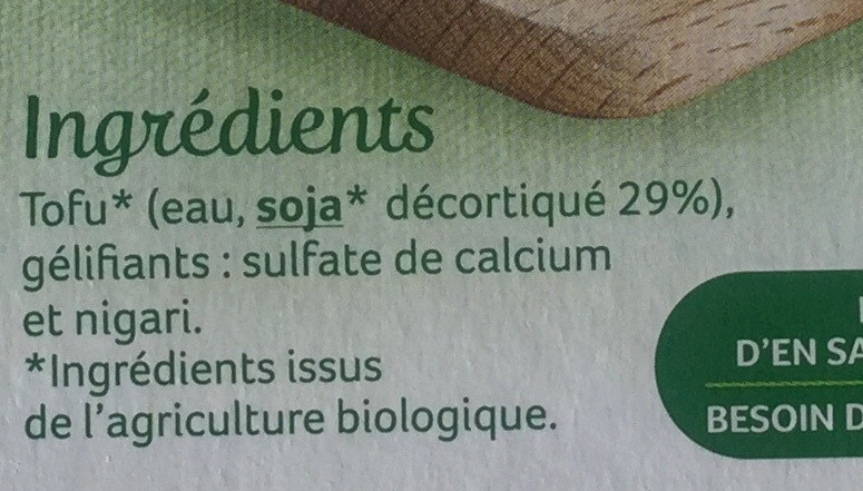 Tofu nature - Ingredients - fr