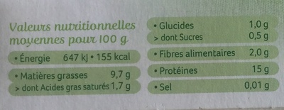 Tofu nature - Nutrition facts - fr