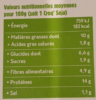 CROQ' SOJA - Informations nutritionnelles - fr