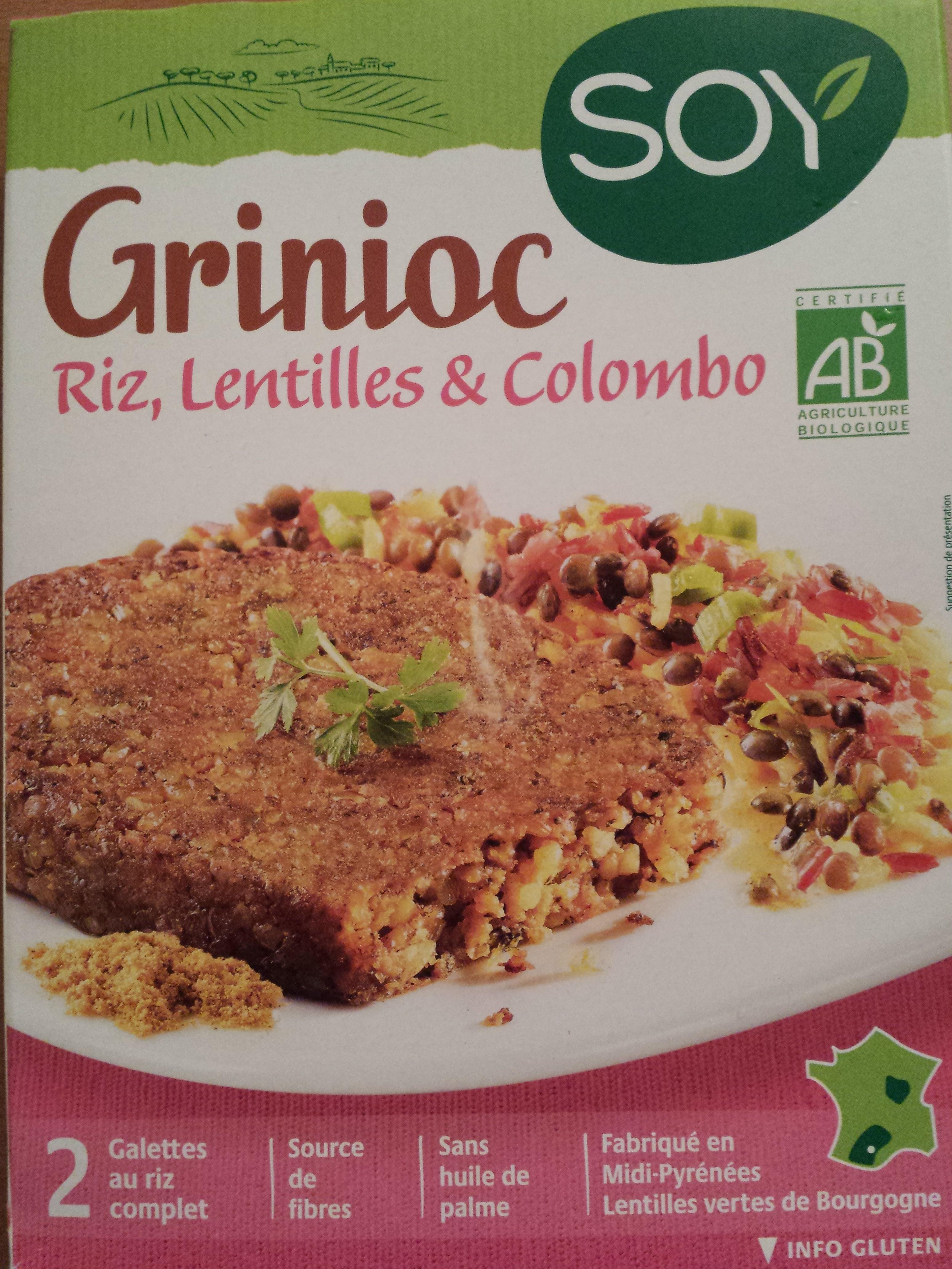 Grinioc Riz, lentilles et colombo - Produit - fr