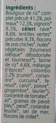 Grinioc Riz, lentilles et colombo - Ingrédients - fr