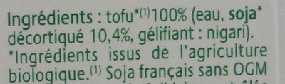 Tofu Soyeux - Ingredients