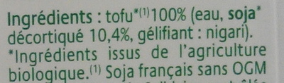 Tofu Soyeux - Ingrédients