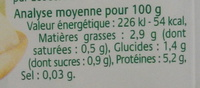 Tofu Soyeux - Informations nutritionnelles