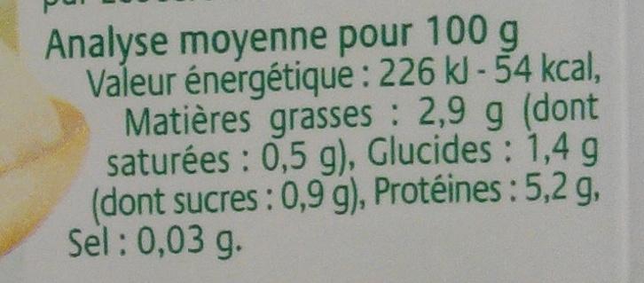 Tofu Soyeux - Nutrition facts
