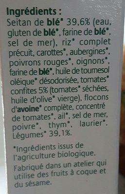Croc'Seitan galette légumes et tomates confites seitan - Ingrédients