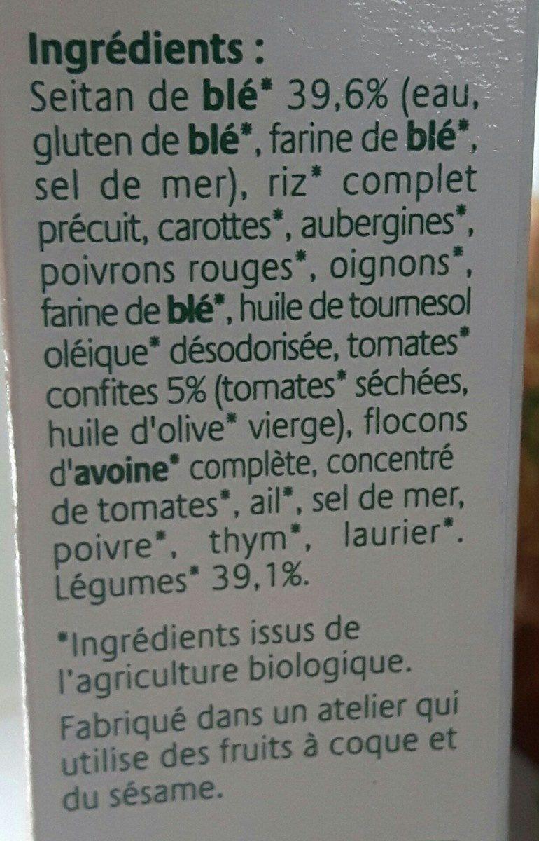 Croc'Seitan légumes et tomates confites - Ingrédients