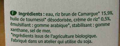 Boisson au Riz complet de Camargue, Nature - Ingrédients