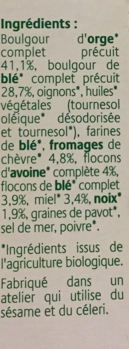 Grinioc orge, chèvre, miel et noix - Ingrédients