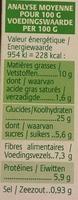 Grinioc orge, chèvre, miel et noix - Informations nutritionnelles