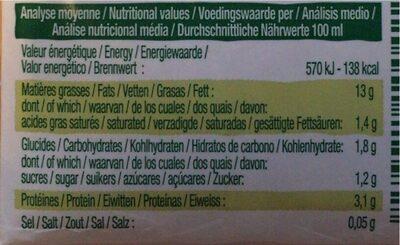 Soya cuisine - Nutrition facts - fr