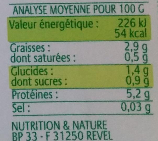Tofou soyeux - Informations nutritionnelles