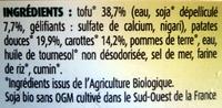 Purée bio patates douces et carottes - Ingrédients - fr