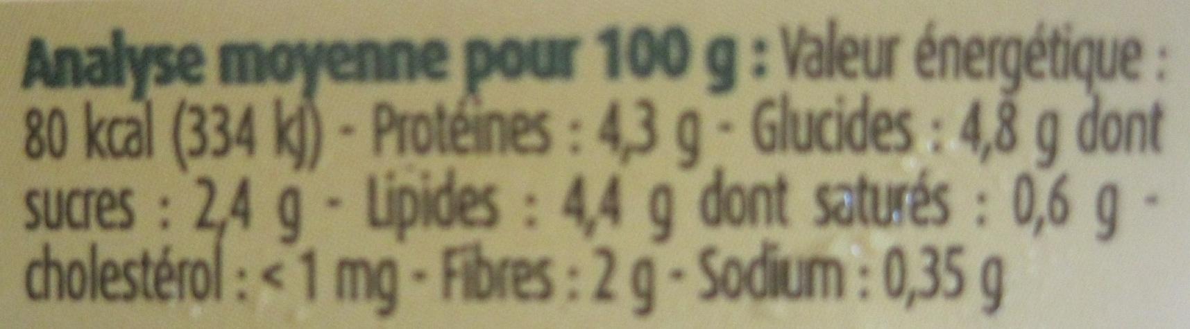 Purée bio patates douces et carottes - Informations nutritionnelles - fr