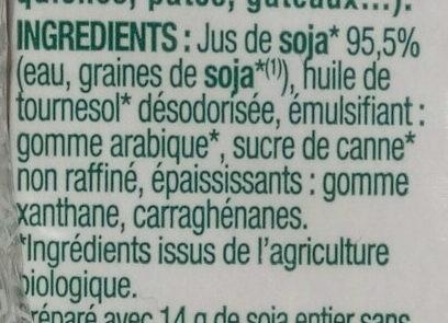 Soya cuisine allégée - Ingredients - fr