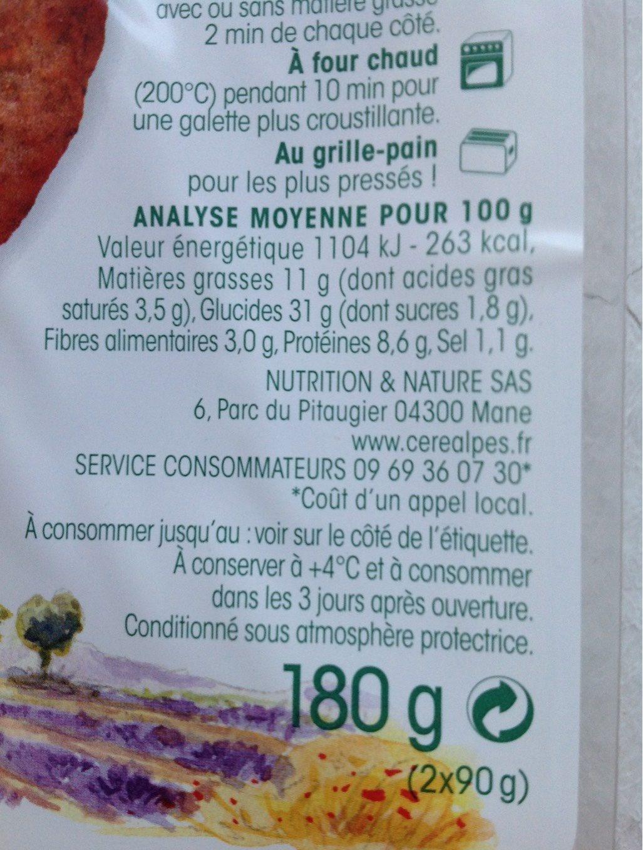 Galette Sarrasin Gruyère - Informations nutritionnelles - fr
