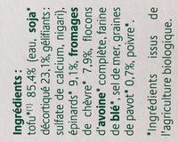 Croc Tofou Chêvre, Epinards & Graines de pavot - Ingredients