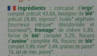 Croc' Céréal Orge - Chèvre - Miel - Ingredients