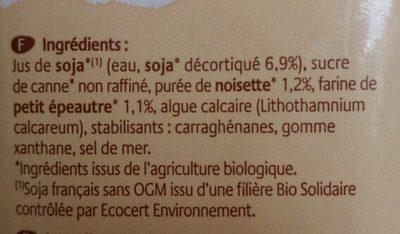 Boisson plaisir au soja, Petit épeautre et noisette - Ingrédients