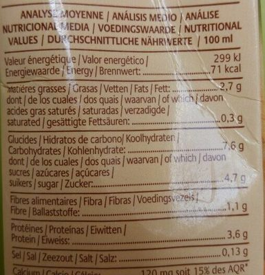 Boisson plaisir au soja, Petit épeautre et noisette - Informations nutritionnelles