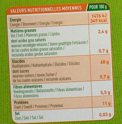 Fusilli Sarrasin - Informations nutritionnelles - fr