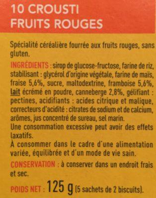 Crousti Fruits Rouges Sans Gluten - Ingrédients - fr