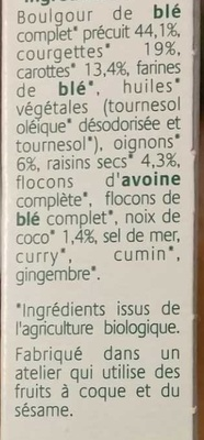 Grignoc Boulgour de blé, Curry & Coco - Ingrédients