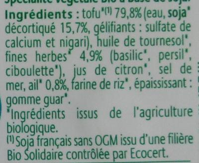 Crémeux Tartine & Cuisine Ail & Fines Herbes à base de tofu - Inhaltsstoffe - fr