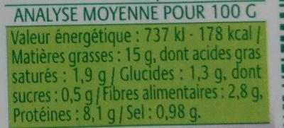 Crémeux Tartine & Cuisine Ail & Fines Herbes à base de tofu - Nährwertangaben - fr