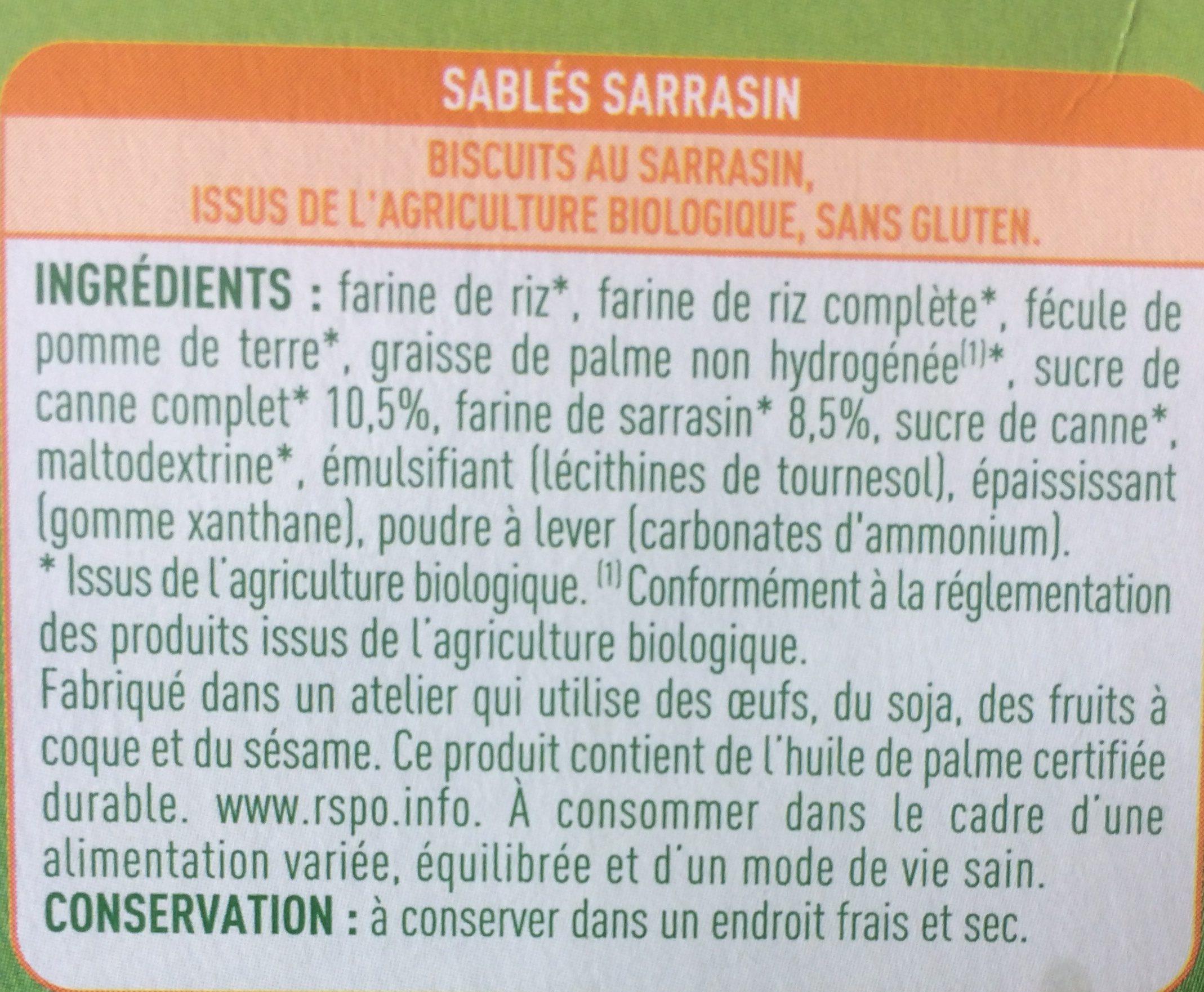 Sablés Sarrasins - Ingredients