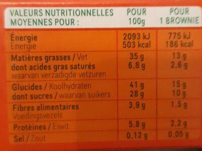 Brownie choco aux noisettes - Informations nutritionnelles - fr
