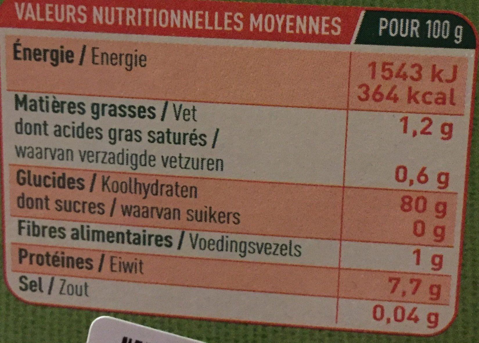 Cheveux d'Ange Sans Gluten - Información nutricional