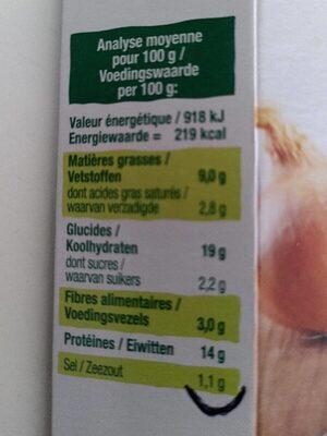 Croc seitan pommes de terre emmental et oignons - Informations nutritionnelles - fr