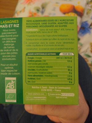 Feuille de Lasagnes Maïs et Riz - Ingrédients