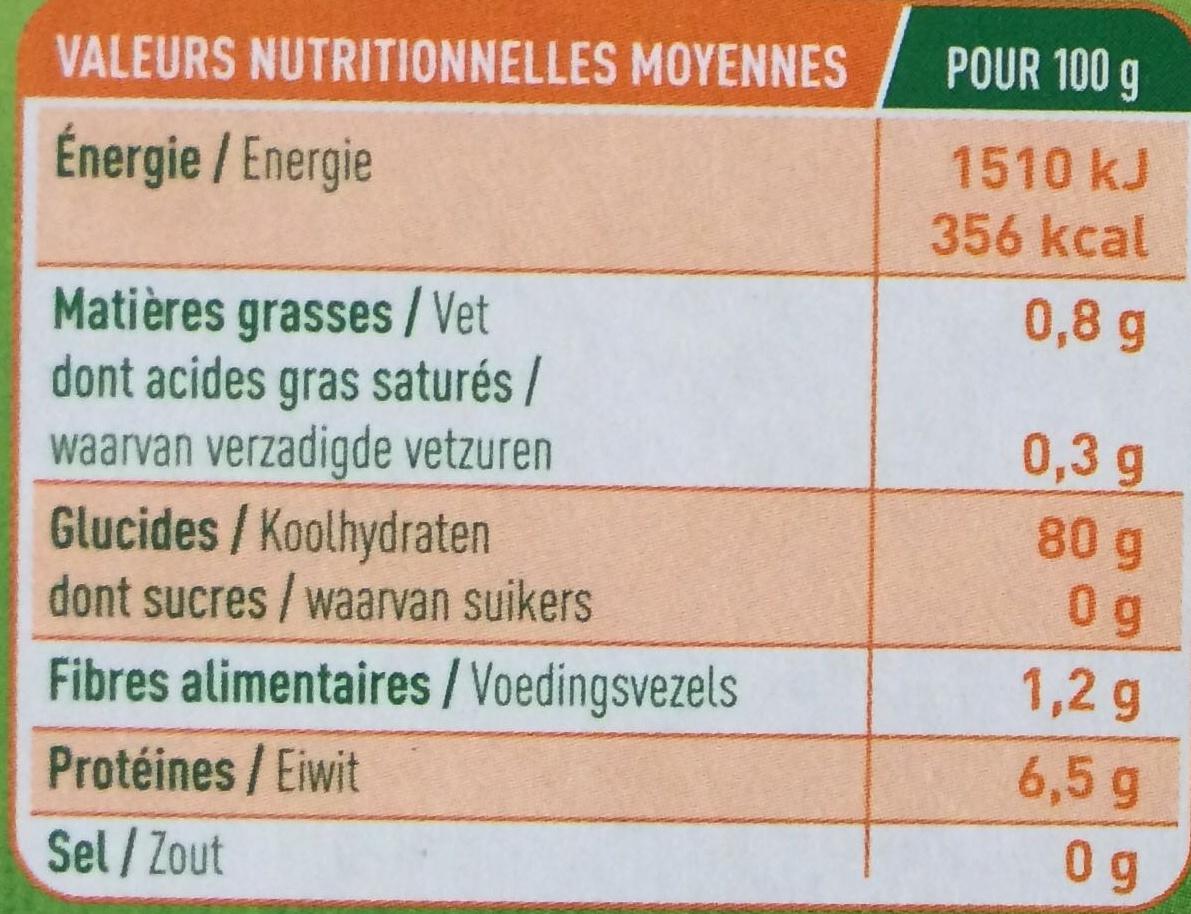 Feuille de Lasagnes Maïs et Riz - Informations nutritionnelles