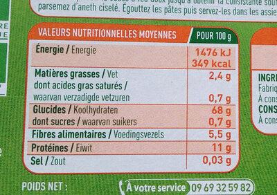 Linguine Sarrasin - Informations nutritionnelles