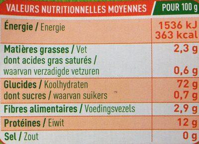 Torsades Riz-Pois Chiches - Información nutricional
