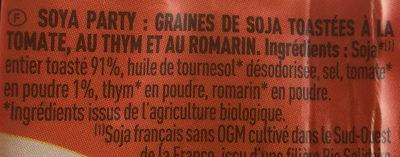 Soya Party - Graines de soja toastées à la tomate, au thym... - Ingrédients - fr