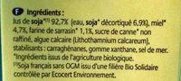 Boisson Soja Miel Sarrasin - Ingrédients - fr
