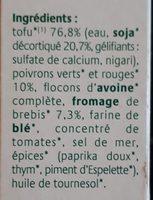 Croc Tofou Poivrons & brebis au piment d'Espelette - Ingrédients