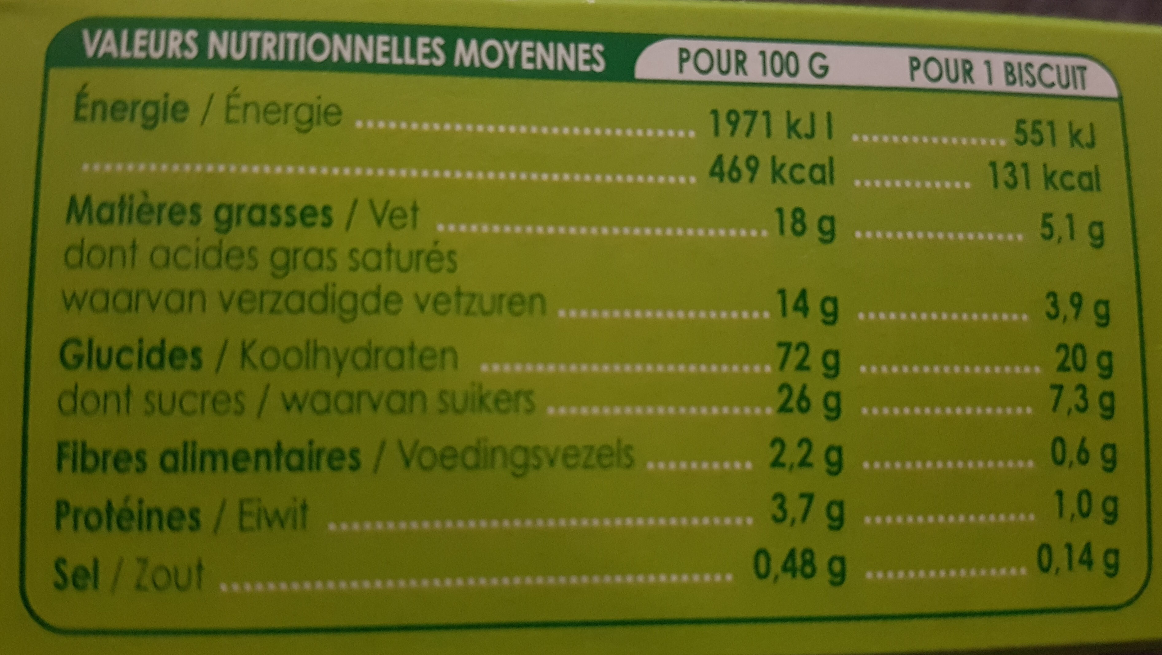 biscuits coeur cacao - Nutrition facts - fr