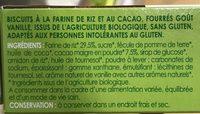 Biscuit cacao parfum vanille - Ingrédients